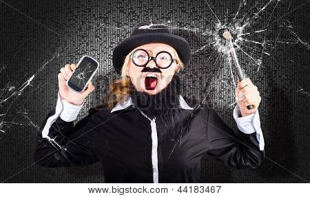 Business Man With Cracked Mobile Phone Screen