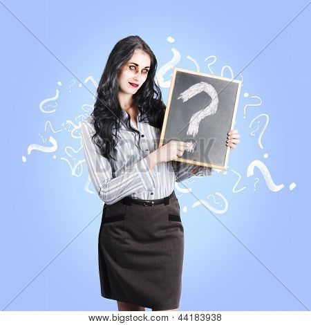 Dead Business Person With Question Mark Chalkboard