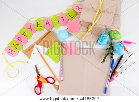 Writing letter of congratulations to Easter holidays isolated on white