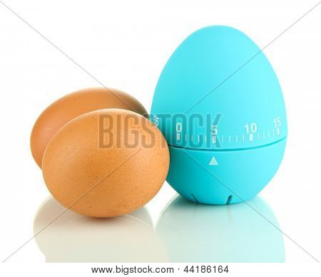 Blue egg timer and eggs, isolated on white