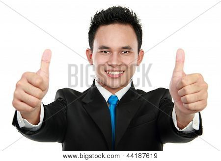 Business Man Two Thumbs Up Sign