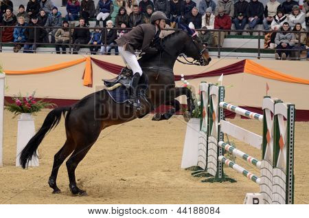 KAPOSVAR, HUNGARY - MARCH 24: Andras Zajzon jumps with his horse (Conrad) on the Masters Tournament International Jumping Competition, March 24, 2013 in Kaposvar, Hungary