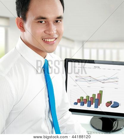Closeup Portrait Of A Happy Young Asian Business Man Smiling