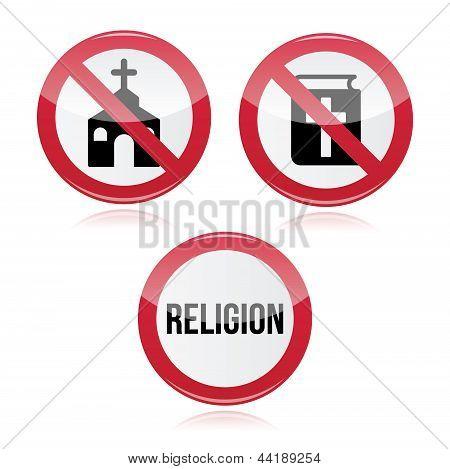 No religion, no church, no bible red warning sign