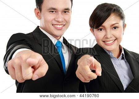 Man And Woman Office Worker Pointing