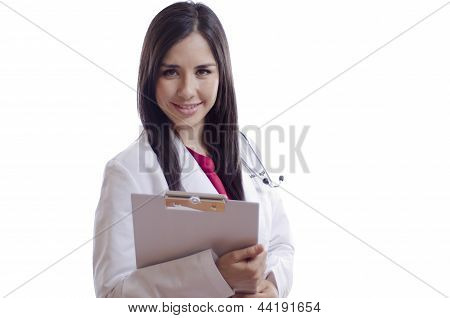 Female doctor holding a chart