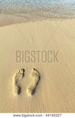 One Pair Footstep On The Beach