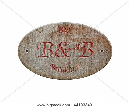 Wooden Sign Of Hotel.