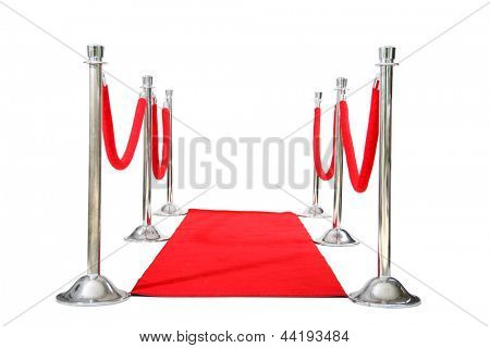 Genuine Hollywood Red Carpet with Red Velvet Ropes and Silver Stanchions, isolated on white with room for your text
