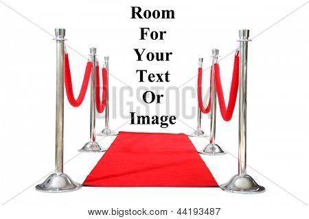 Genuine Hollywood Red Carpet with Red Velvet Ropes and Silver Stantions, isolated on white with room for your text