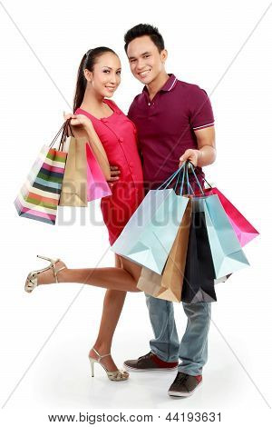Man And Woman With Shopping Bag