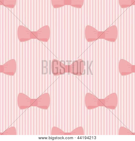 Seamless vector pattern with bows on a pastel pink strips background