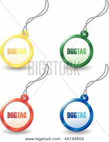set of colourful dog tags