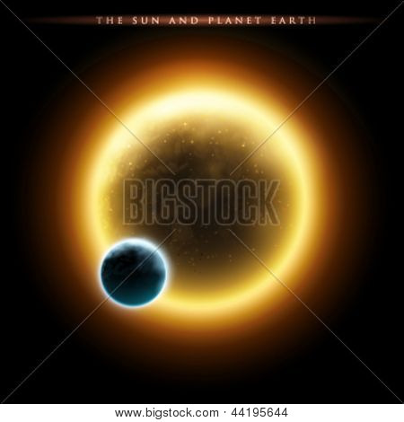 Planet Earth and the Sun - vector illustration