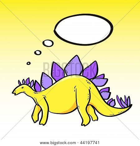 Cute cartoon stegosaurus dinosaur character with a speech bubble, vector