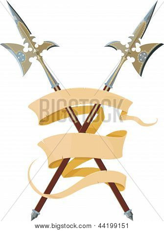 two crossed halberds with banner