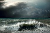 stock photo of rain cloud  - View of storm seascape - JPG
