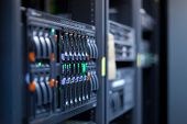 stock photo of cpu  - Network servers in a data center - JPG