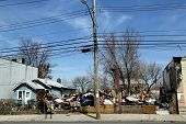 Destroyed  house five month after  Hurricane Sandy in Staten Island, NY