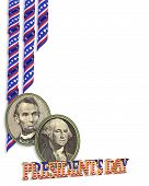 stock photo of cameos  - Illustration composition for Presidents Day border or background with portrait cameos of Washington lincoln with copy space - JPG