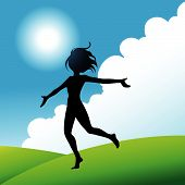 pic of fitness-girl  - a girl jumping and running around with joy - JPG