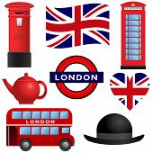 stock photo of bowler hat  - Set of travel icons - JPG