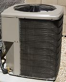 picture of air conditioner  - Air Conditioner and Heat Pump Compressor Unit in Backyard - JPG