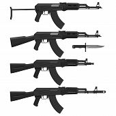 picture of ak47  - Layered vector illustration of different Assault rifles - JPG