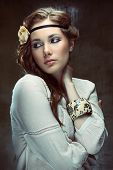 foto of headband  - Glamour hippie girl posing on grunge background - JPG