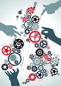 stock photo of ireland  - illustration of all the Helping Hands making the United Kingdom and Ireland work again with industrial cogs and gears - JPG
