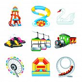 image of amusement  - Colorful amusement park or funfair attraction icons - JPG