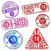 stock photo of x-rated  - Adults only and X rated rubber stamp vectors - JPG