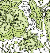 .seamless Abstract Hand-drawn Green Pattern With Flowers.