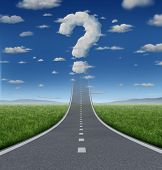 stock photo of three dimensional shape  - Success Questions and uncertain strategy with a road or highway going up to the sky fading into a cloud shaped as a question mark as a business concept of the challenges of reaching your goals - JPG