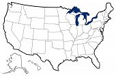 stock photo of kansas  - detailed outline map of United States showing state borders - JPG