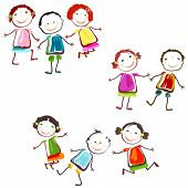 image of animated cartoon  - group of happy children playing - JPG