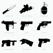 pic of uzi  - Set of hand weapons on white background - JPG