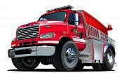 stock photo of fire brigade  - Vector Cartoon Fire Truck Hotrod - JPG
