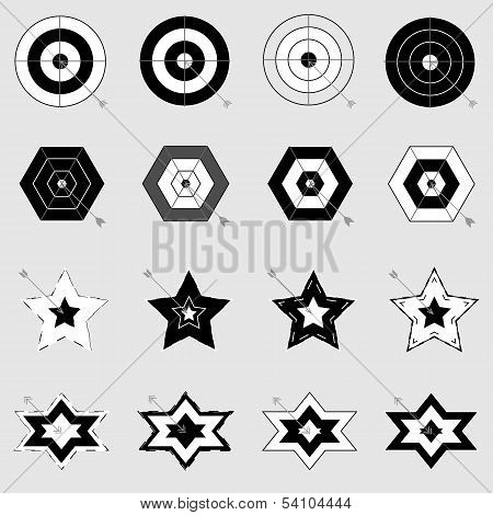 Design Target And Arrow Icons On Gray Background