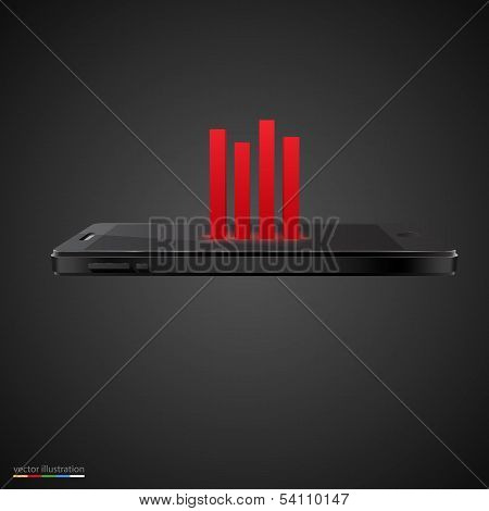 Smartphone with red chart on black background.