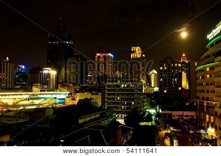 night skyline in Sukhumvit zone - Bangkok