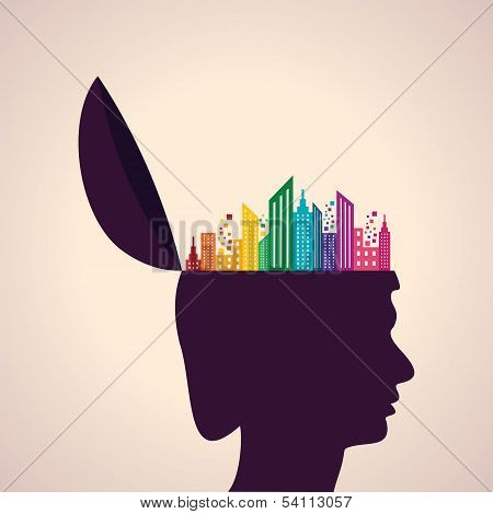 Thinking concept-Human head with colorful building icon