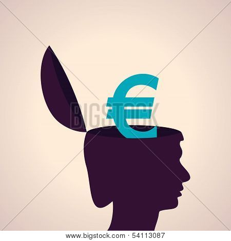 Thinking concept-Human head with euro symbol