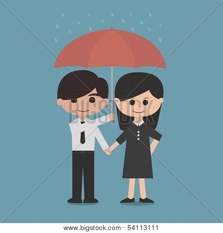 man and woman under a red umbrella