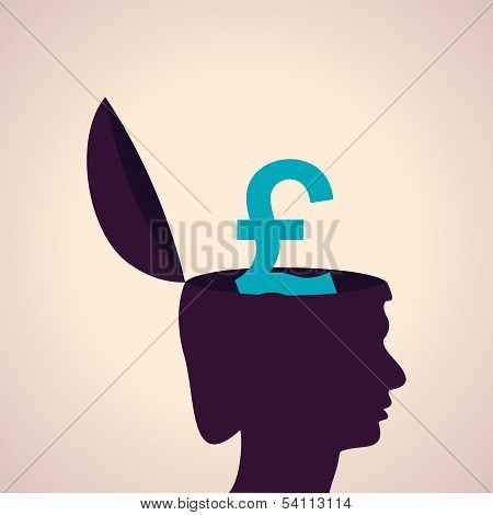 Thinking concept-Human head with pound symbol