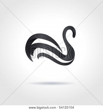 Black Swan On Gray Background. Creative Abstract Symbol. Luxury Sign.