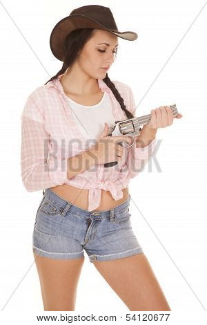 Woman Pink Plaid Shirt Gun Look At