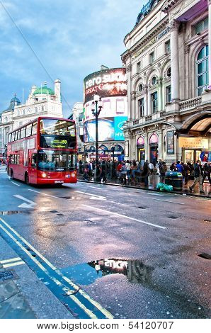 double decker bus in Piccadilly Circus - London, UK