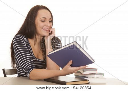 Woman Stripes Books Tongue Out