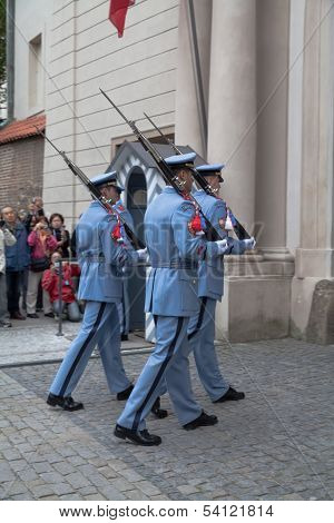 Ceremonial Changing Of The Guards At Prague Castle